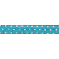 "Blue + Silver Dot - 5/8"" Metallic Printed Fold Over Elastic"