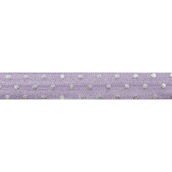 "Lavender + Silver Dot - 5/8"" Metallic Printed Fold Over Elastic"