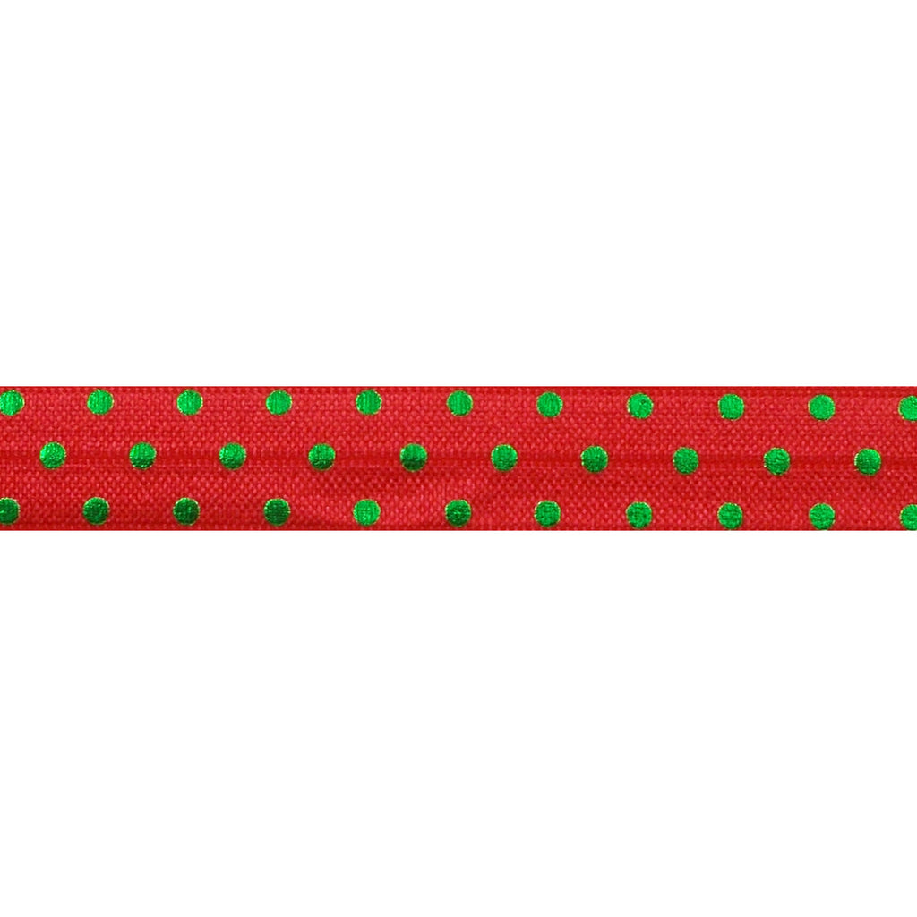 "Red & Green Polka Dots - 5/8"" Metallic Printed Fold Over Elastic"