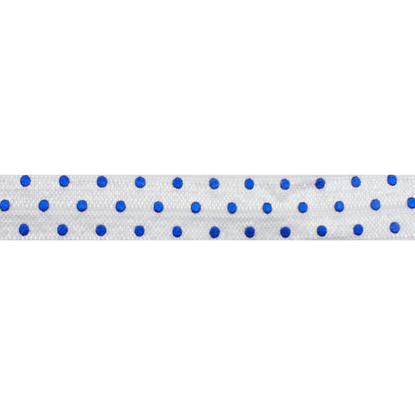 "White + Royal Blue Dot - 5/8"" Metallic Printed Fold Over Elastic"