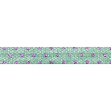 "Mint Green + Lavender Dot - 5/8"" Metallic Printed Fold Over Elastic"