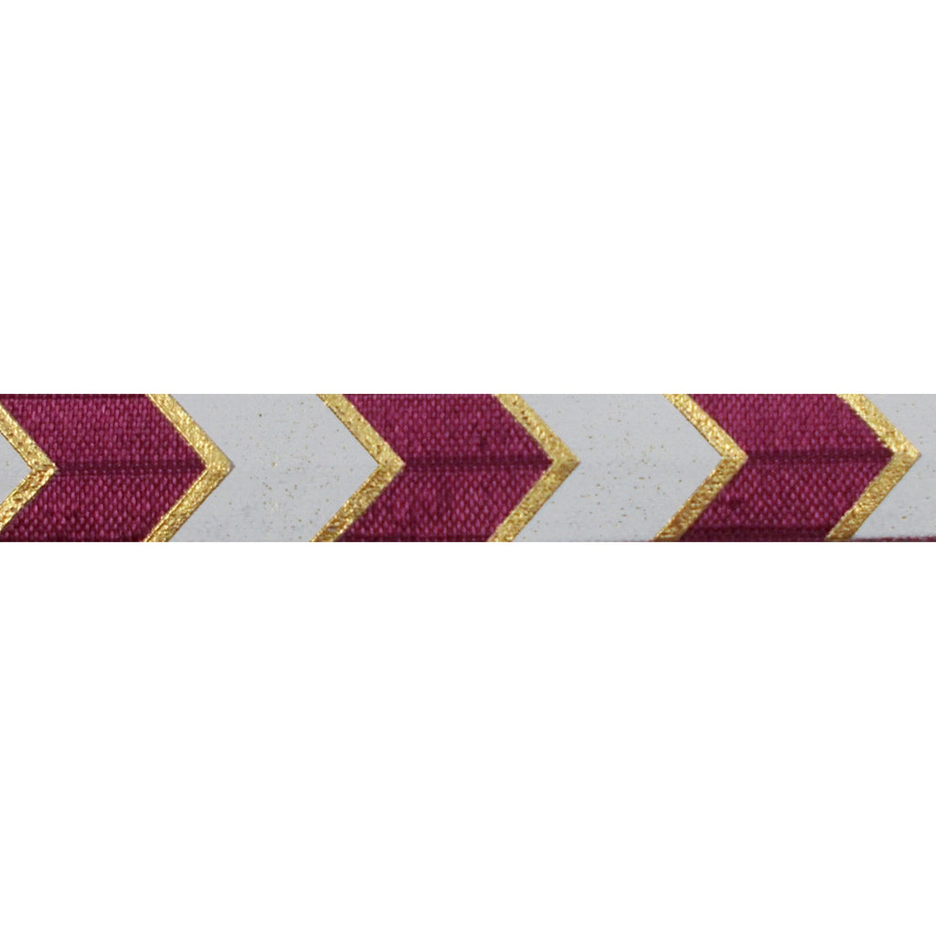 "Wineberry & Gold Arrow Chevron - 5/8"" Metallic Printed Fold Over Elastic"