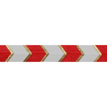 "Red & Gold Arrow Chevron - 5/8"" Metallic Printed Fold Over Elastic"