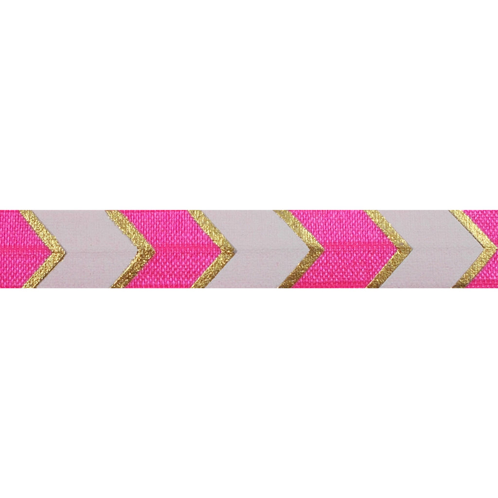 "Neon Pink & Gold Arrow Chevron - 5/8"" Metallic Printed Fold Over Elastic"