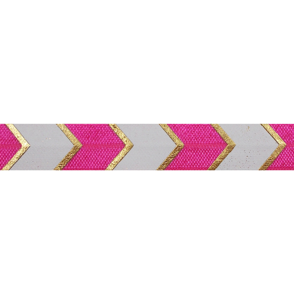 "Hot Pink & Gold Arrow Chevron - 5/8"" Metallic Printed Fold Over Elastic"