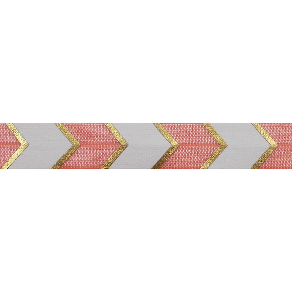 "Coral Peach + Gold Arrow Chevron - 5/8"" Metallic Printed Fold Over Elastic"