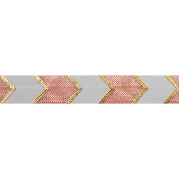 "Light Peach & Gold Arrow Chevron - 5/8"" Metallic Printed Fold Over Elastic"