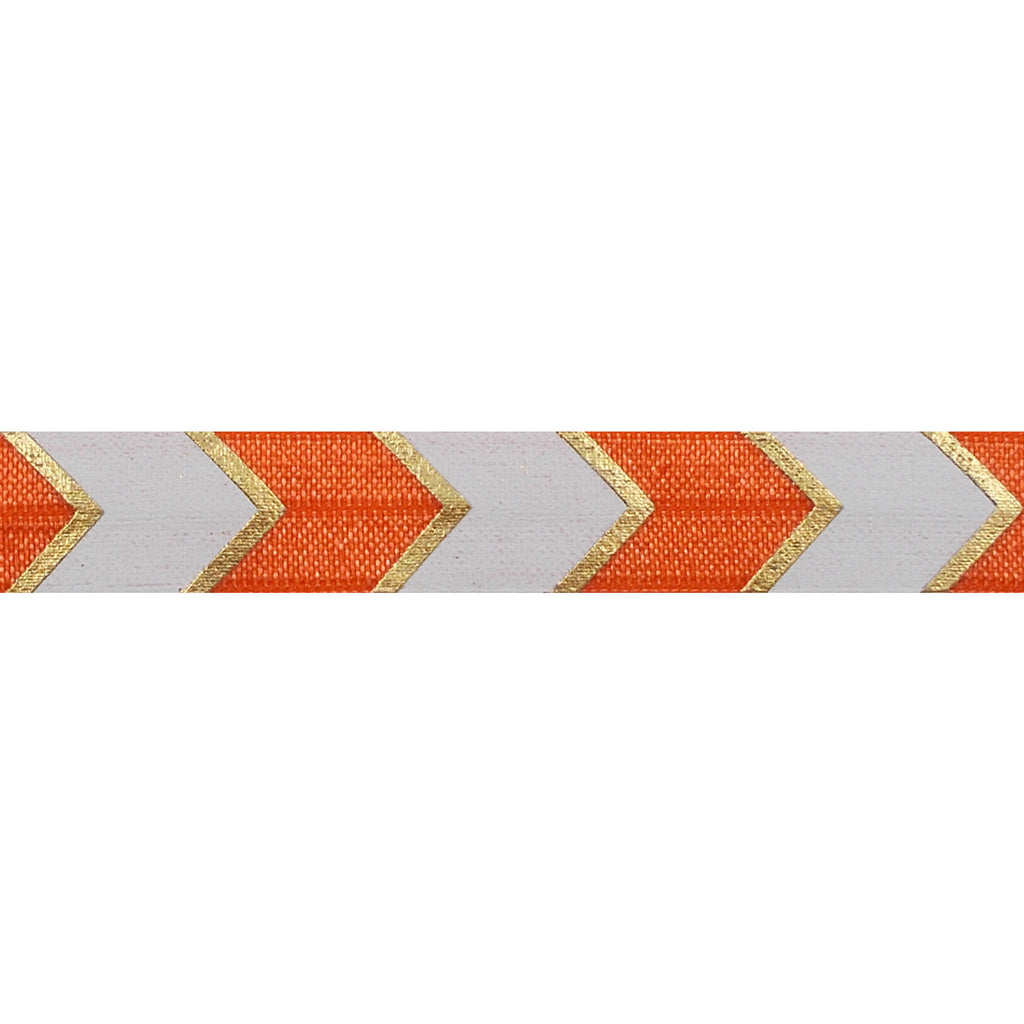 "Orange & Gold Arrow Chevron - 5/8"" Metallic Printed Fold Over Elastic"