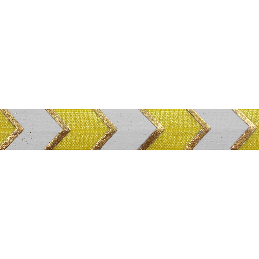 "Yellow & Gold Arrow Chevron - 5/8"" Metallic Printed Fold Over Elastic"