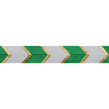 "Green & Gold Arrow Chevron - 5/8"" Metallic Printed Fold Over Elastic"