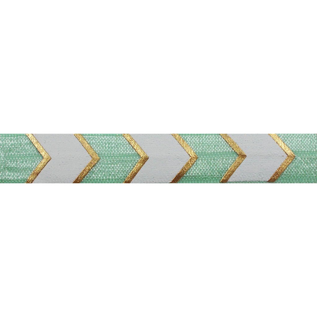 "Mint Green & Gold Arrow Chevron - 5/8"" Metallic Printed Fold Over Elastic"
