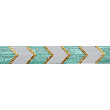 "Sea Foam & Gold Arrow Chevron - 5/8"" Metallic Printed Fold Over Elastic"