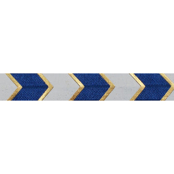 "Navy Blue & Gold Arrow Chevron - 5/8"" Metallic Printed Fold Over Elastic"