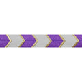 "Purple & Gold Arrow Chevron - 5/8"" Metallic Printed Fold Over Elastic"