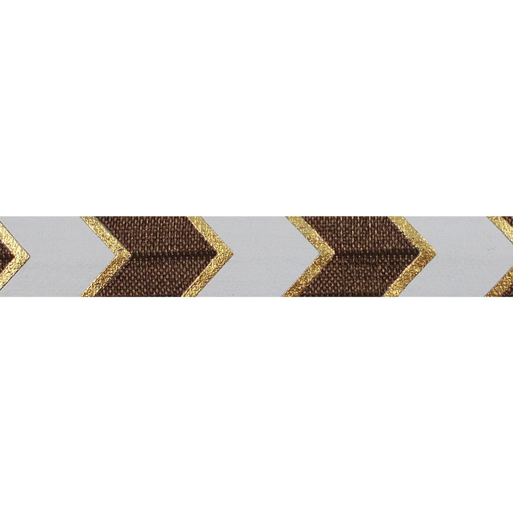 "Brown & Gold Arrow Chevron - 5/8"" Metallic Printed Fold Over Elastic"