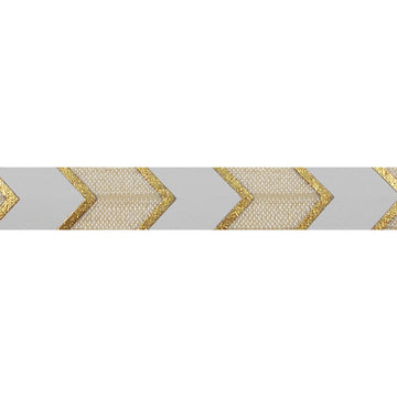 "Cream & Gold Arrow Chevron - 5/8"" Metallic Printed Fold Over Elastic"