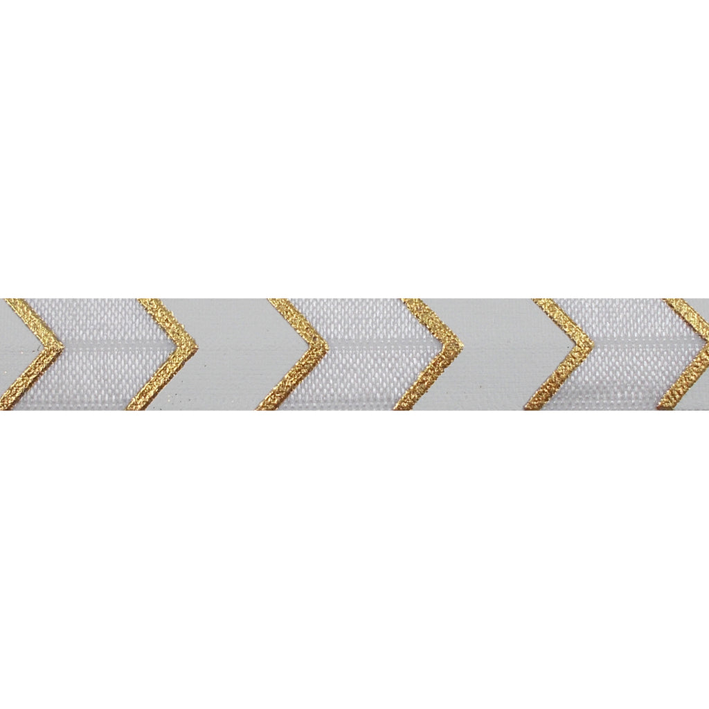 "White & Gold Arrow Chevron - 5/8"" Metallic Printed Fold Over Elastic"