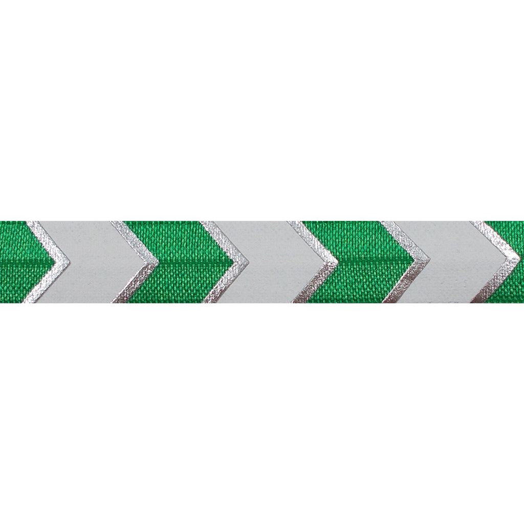 "Green & Silver Arrow Chevron - 5/8"" Metallic Printed Fold Over Elastic"