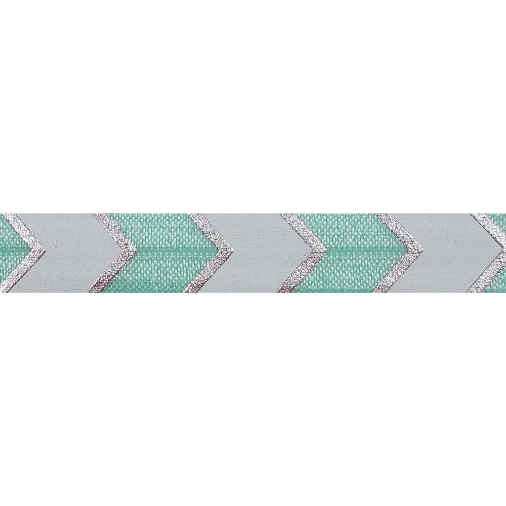 "Sea Foam & Silver Arrow Chevron - 5/8"" Metallic Printed Fold Over Elastic"