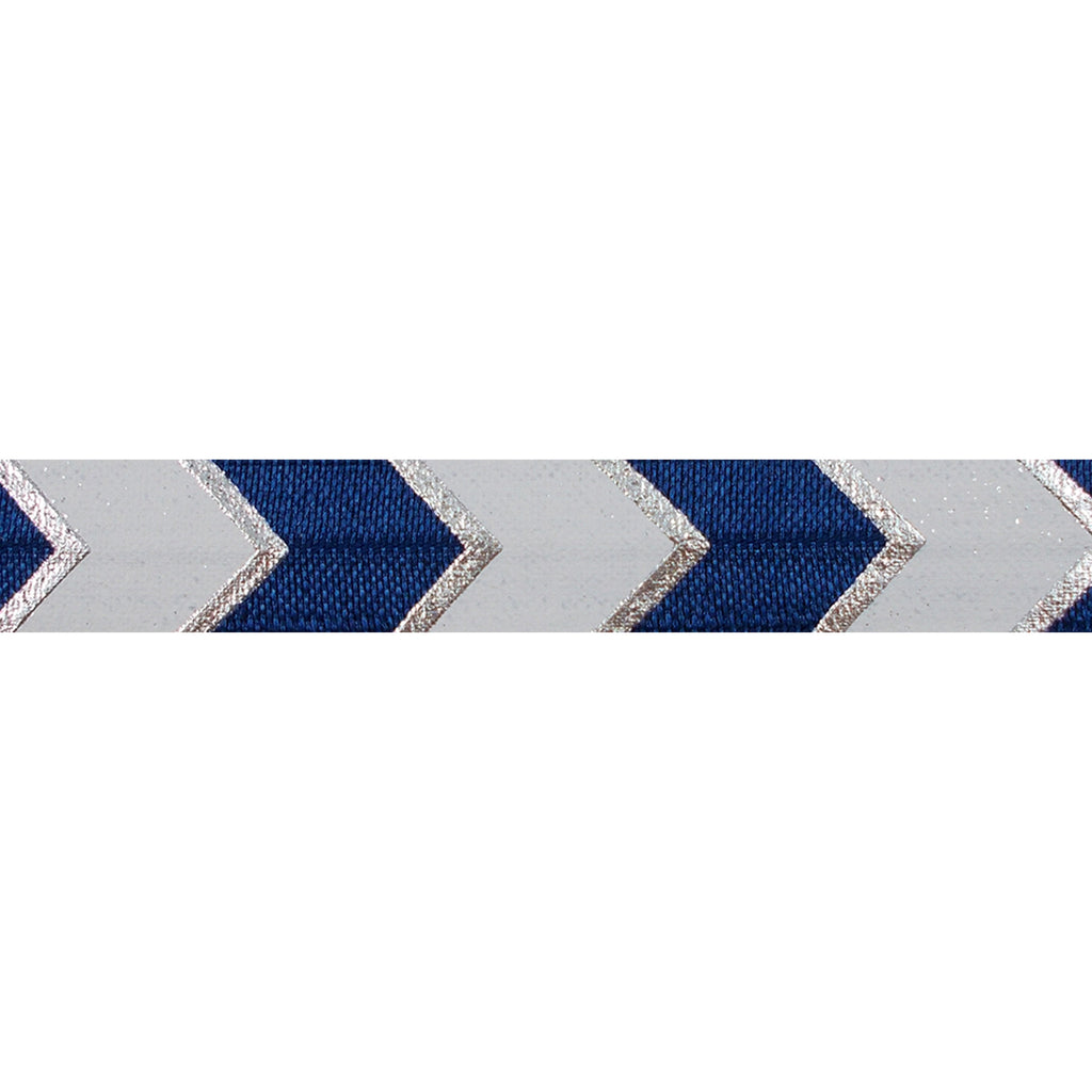 "Navy Blue & Silver Arrow Chevron - 5/8"" Metallic Printed Fold Over Elastic"