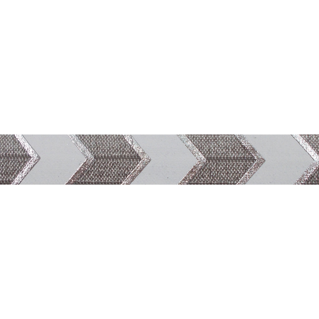 "Gray & Silver Arrow Chevron - 5/8"" Metallic Printed Fold Over Elastic"