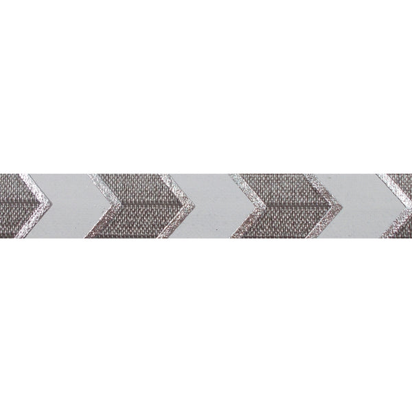 "Gray + Silver Arrow Chevron - 5/8"" Metallic Printed Fold Over Elastic"