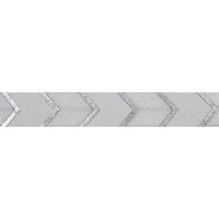 "White + Silver Arrow Chevron - 5/8"" Metallic Printed Fold Over Elastic"