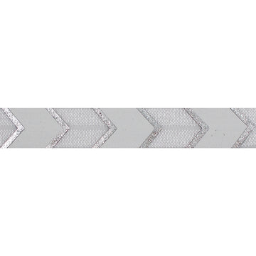"White & Silver Arrow Chevron - 5/8"" Metallic Printed Fold Over Elastic"