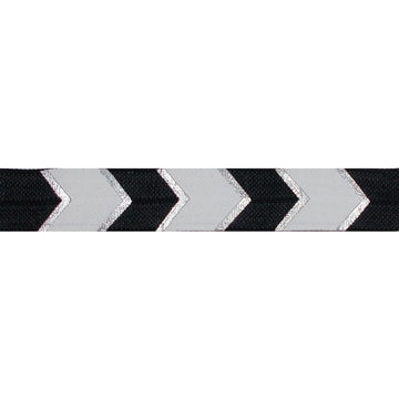 "Black & Silver Arrow Chevron - 5/8"" Metallic Printed Fold Over Elastic"