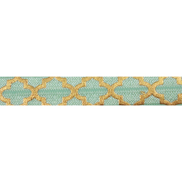 "Mint Green & Large Gold Quatrefoil - 5/8"" Metallic Printed Fold Over Elastic"