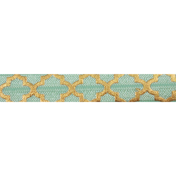 "Mint Green + Large Gold Quatrefoil - 5/8"" Metallic Printed Fold Over Elastic"