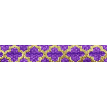 "Purple & Large Gold Quatrefoil - 5/8"" Metallic Printed Fold Over Elastic"