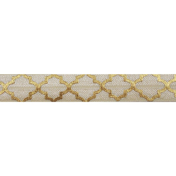 "Cream & Large Gold Quatrefoil - 5/8"" Metallic Printed Fold Over Elastic"