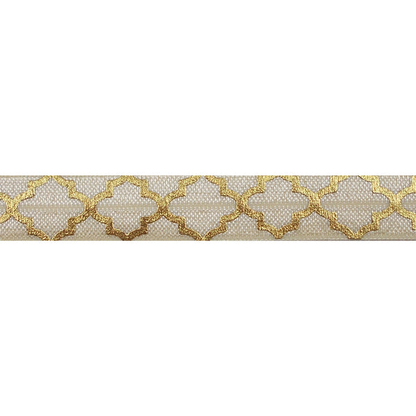 "Cream + Large Gold Quatrefoil - 5/8"" Metallic Printed Fold Over Elastic"