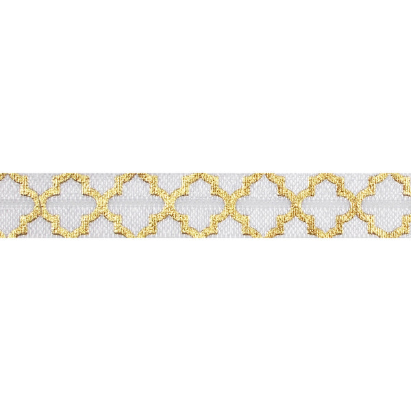 "White + Large Gold Quatrefoil - 5/8"" Metallic Printed Fold Over Elastic"