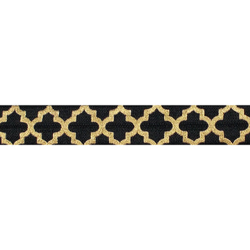 "Black & Large Gold Quatrefoil - 5/8"" Metallic Printed Fold Over Elastic"