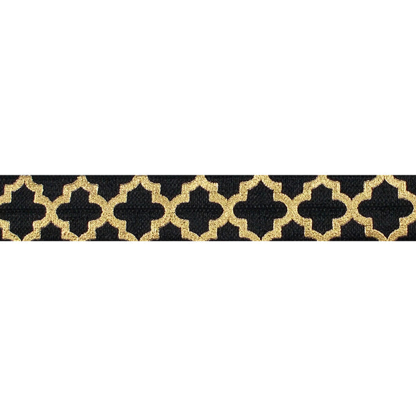 "Black + Large Gold Quatrefoil - 5/8"" Metallic Printed Fold Over Elastic"