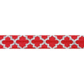 "Red & Large Silver Quatrefoil - 5/8"" Metallic Printed Fold Over Elastic"