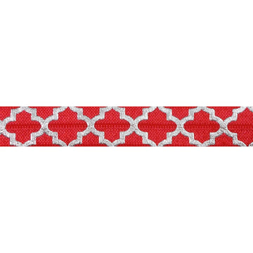"Red + Large Silver Quatrefoil - 5/8"" Metallic Printed Fold Over Elastic"