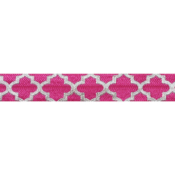 "Hot Pink + Large Silver Quatrefoil - 5/8"" Metallic Printed Fold Over Elastic"