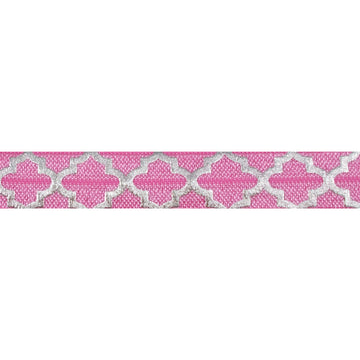 "Pink + Large Silver Quatrefoil - 5/8"" Metallic Printed Fold Over Elastic"