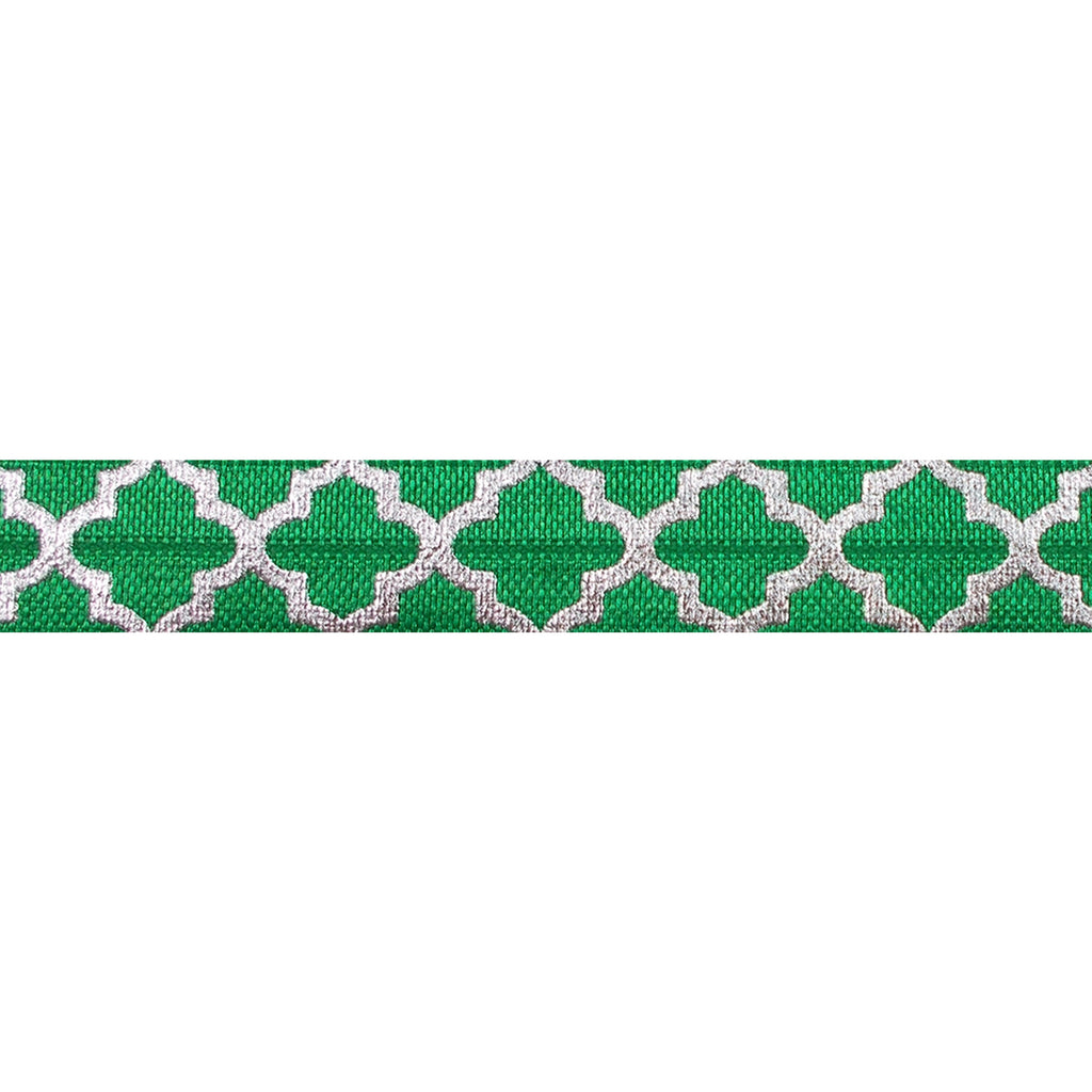"Green & Large Silver Quatrefoil - 5/8"" Metallic Printed Fold Over Elastic"
