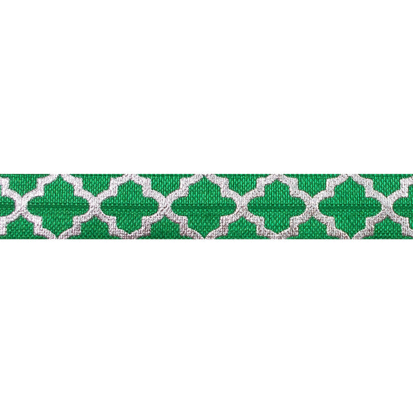 "Green + Large Silver Quatrefoil - 5/8"" Metallic Printed Fold Over Elastic"