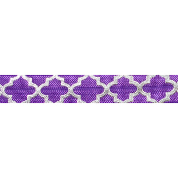 "Purple & Large Silver Quatrefoil - 5/8"" Metallic Printed Fold Over Elastic"