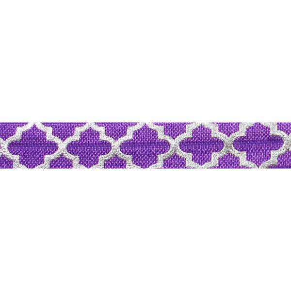 "Purple + Large Silver Quatrefoil - 5/8"" Metallic Printed Fold Over Elastic"
