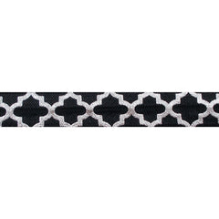 "Black & Large Silver Quatrefoil - 5/8"" Metallic Printed Fold Over Elastic"
