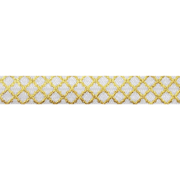 "White & Small Gold Quatrefoil - 5/8"" Metallic Printed Fold Over Elastic"