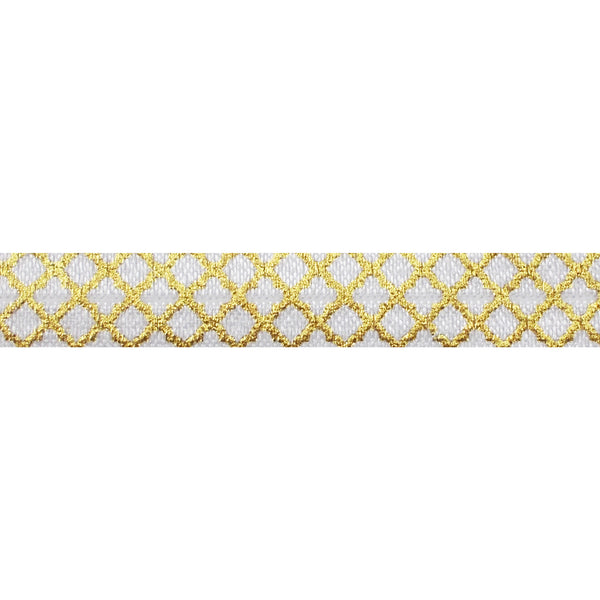 "White + Small Gold Quatrefoil - 5/8"" Metallic Printed Fold Over Elastic"