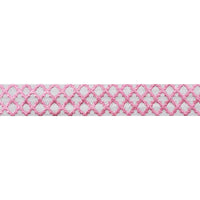 "White + Small Pink Quatrefoil - 5/8"" Metallic Printed Fold Over Elastic"