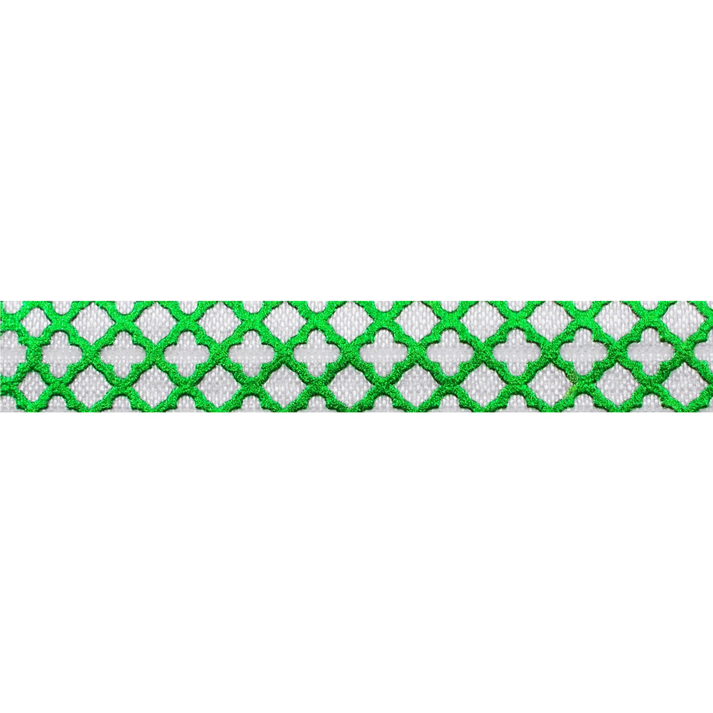 "White & Small Green Quatrefoil - 5/8"" Metallic Printed Fold Over Elastic"